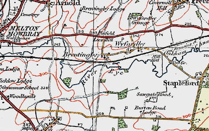 Old map of Brentingby in 1921