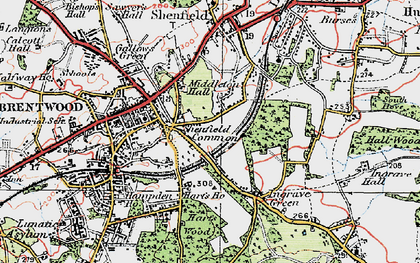 Old map of Brentwood in 1920