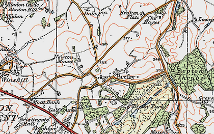 Old map of Bretby in 1921