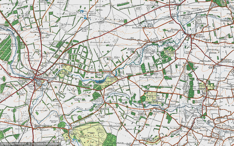 Old Map of Historic Map covering Langmere Boxes in 1920