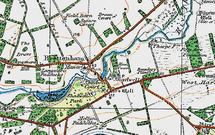 Old map of Langmere Boxes in 1920