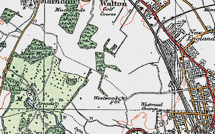 Old map of Bretton in 1922