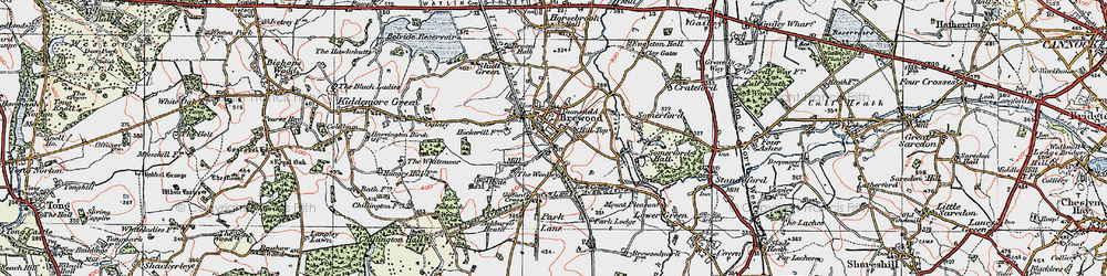 Old map of Brewood in 1921