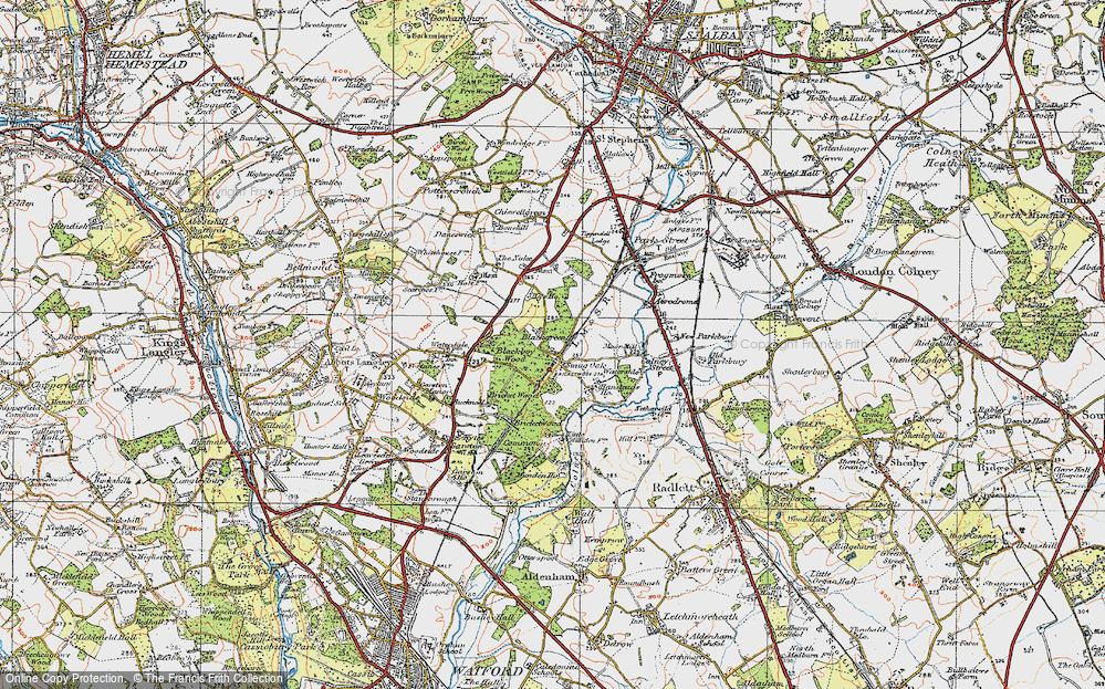Old Map of Bricket Wood, 1920 in 1920