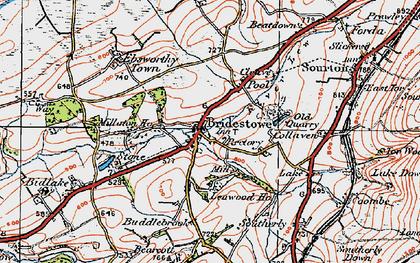 Old map of Bridestowe in 1919