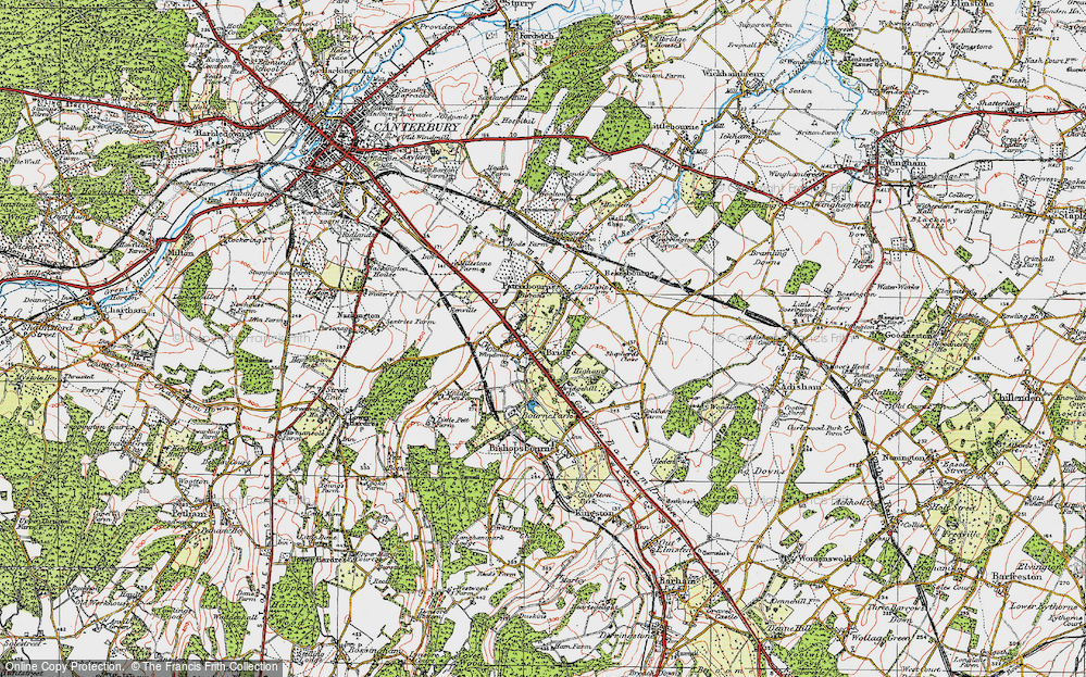 Old Map of Historic Map covering Barham Downs in 1920