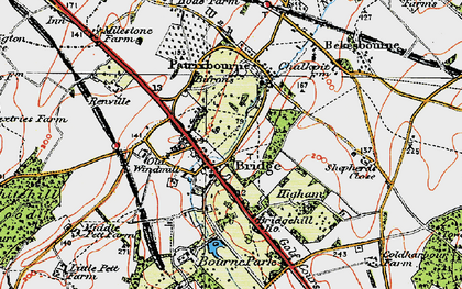 Old map of Barham Downs in 1920