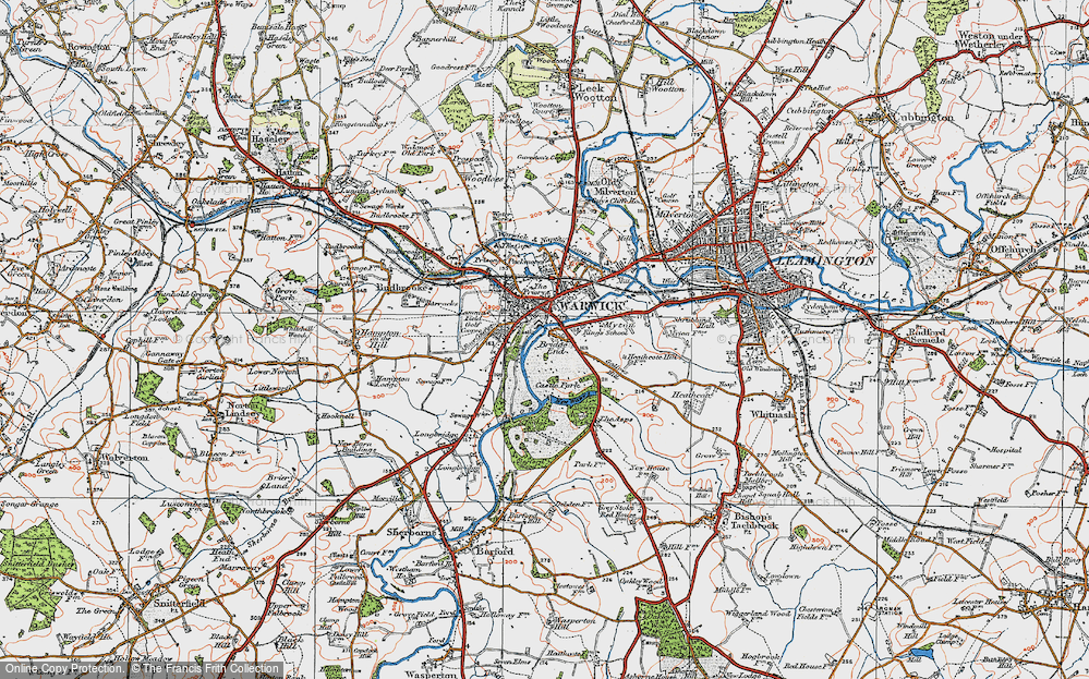Old Map of Historic Map covering Barford Wood in 1919