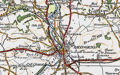 Old map of Bridgend in 1922
