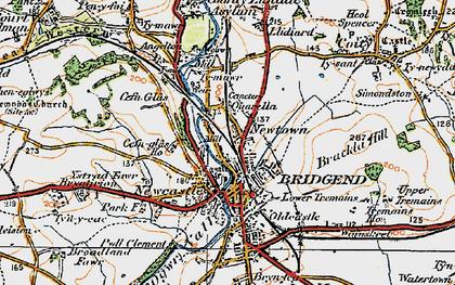 Old map of Bridgend in 1922