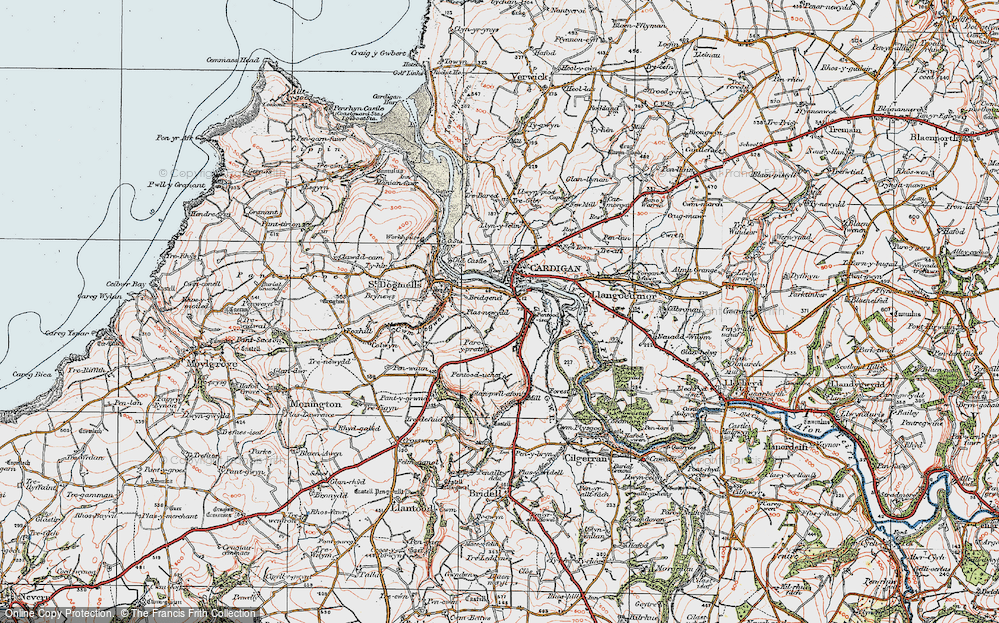 Old Map of Historic Map covering Afon Piliau in 1923