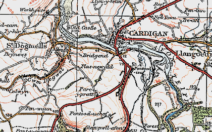Old map of Afon Piliau in 1923