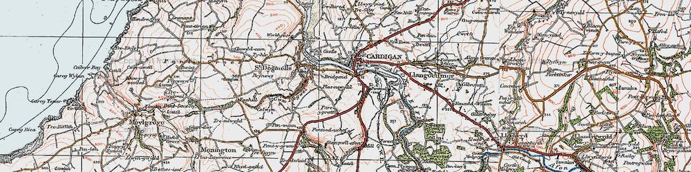 Old map of Afon Piliau in 1923
