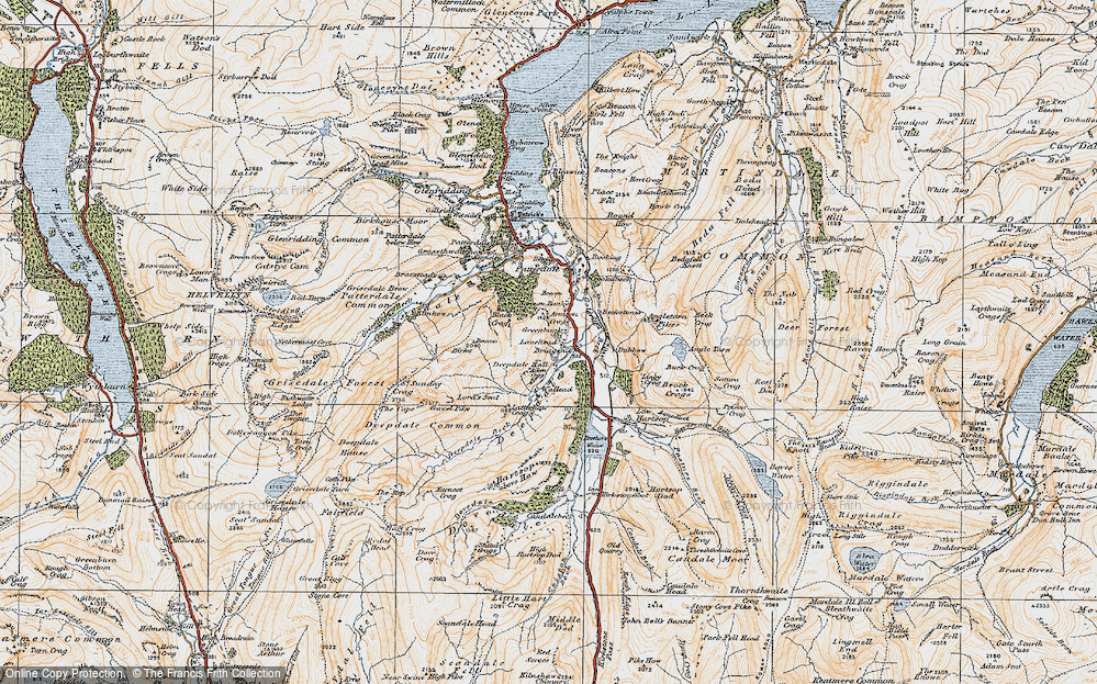 Old Map of Historic Map covering Aiken Crag in 1925