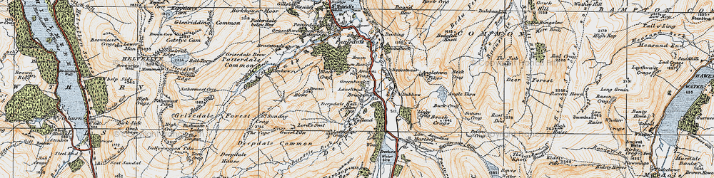 Old map of Lane Head in 1925