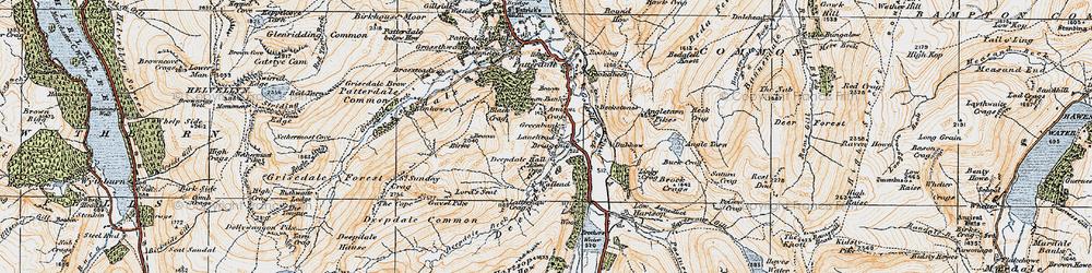 Old map of Aiken Crag in 1925