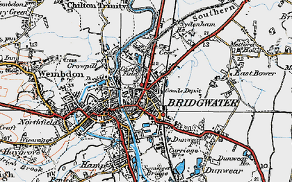 Old map of Bridgwater in 1919