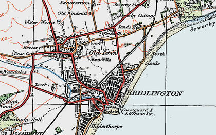 Old map of Bridlington in 1924
