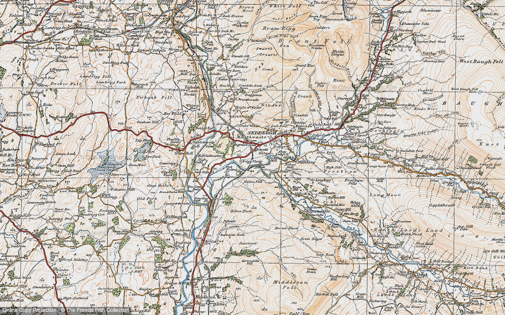 Old Map of Historic Map covering Abbot Holme in 1925
