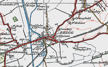 Old map of Wrawby Carrs in 1923