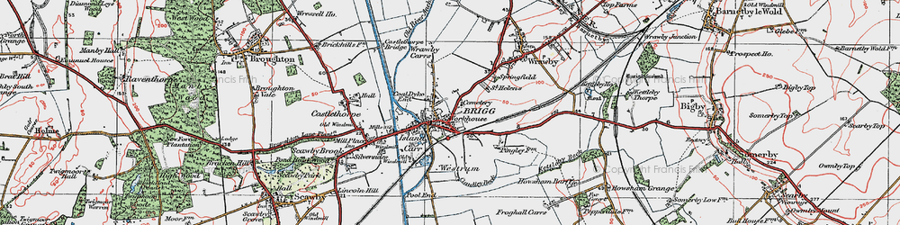 Old map of Brigg in 1923