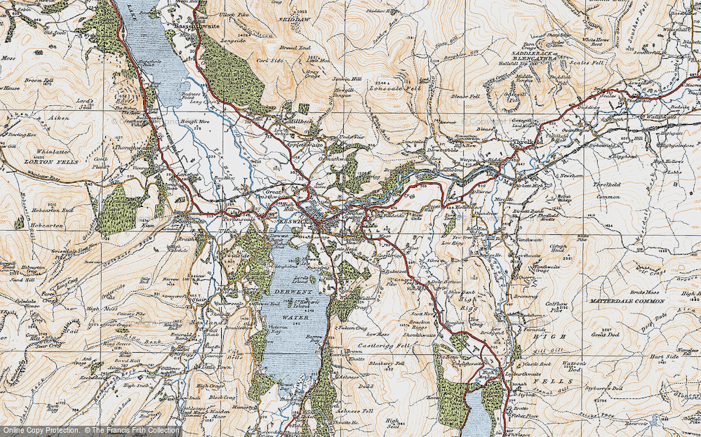 Old Map of Historic Map covering Latrigg in 1925