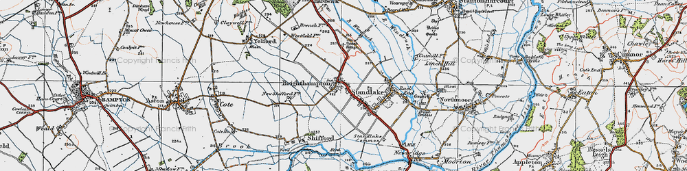 Old map of Brighthampton in 1919