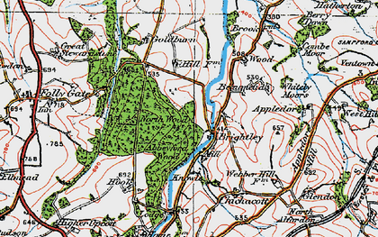 Old map of Abbeyford Woods in 1919