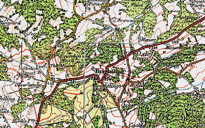 Old map of Brightling in 1920