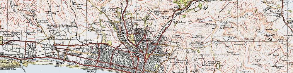 Old map of Brighton in 1920