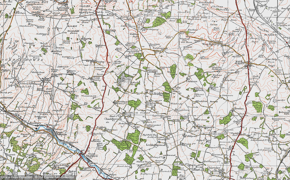 Old Map of Historic Map covering Lilley Copse in 1919