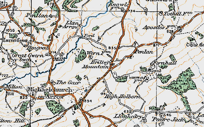 Old map of Brilley Mountain in 1919