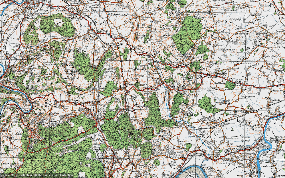 Old Map of Historic Map covering Abenhall in 1919