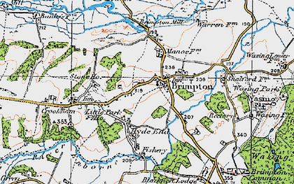 Old map of Brimpton in 1919