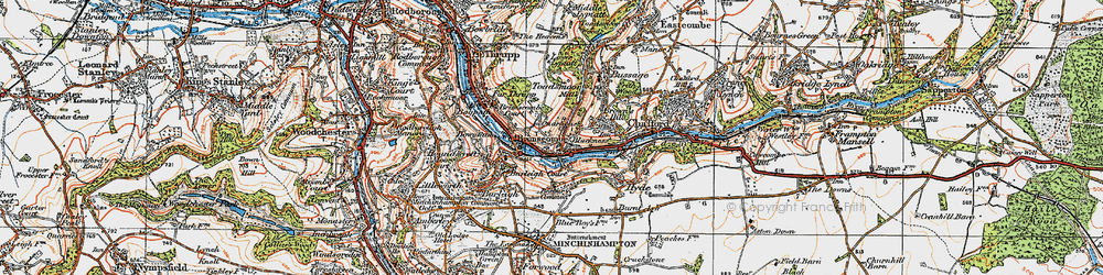 Old map of Brimscombe in 1919