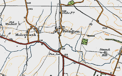 Old map of Brington in 1920