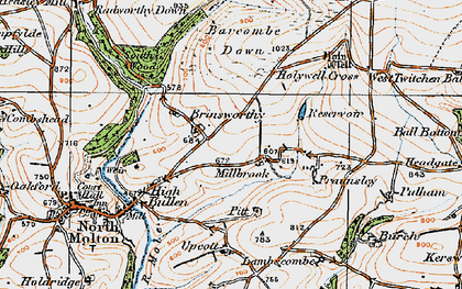 Old map of Barcombe Down in 1919
