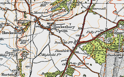 Old map of Britain Bottom in 1919