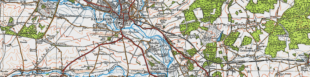 Old map of Britford in 1919