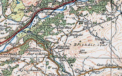 Old map of Afon Wnion in 1921