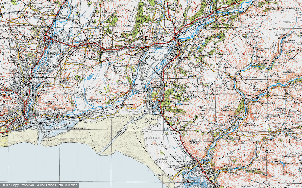 Old Map of Briton Ferry, 1923 in 1923
