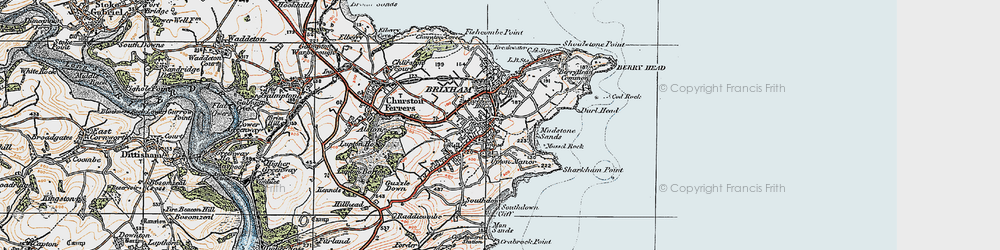 Old map of Brixham in 1919