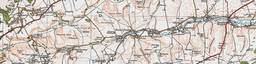 Old map of Broad Chalke in 1919