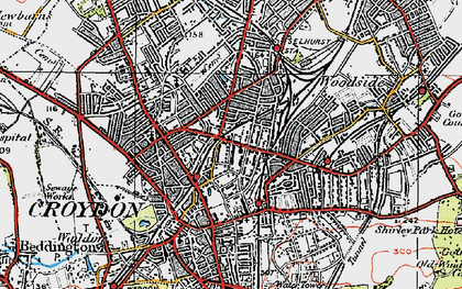 Old map of Broad Green in 1920