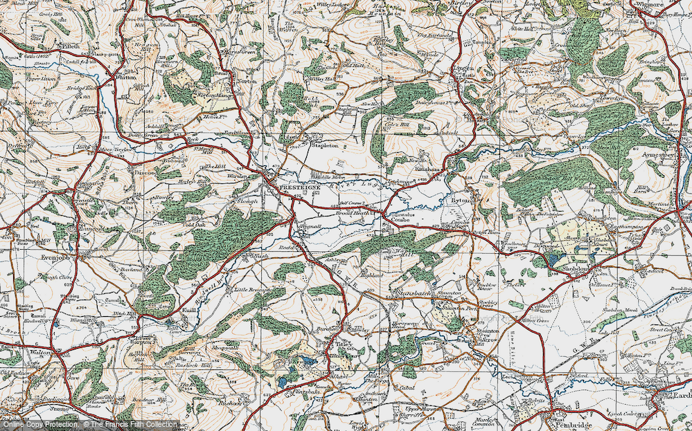 Old Map of Historic Map covering Hindwell Brook in 1920