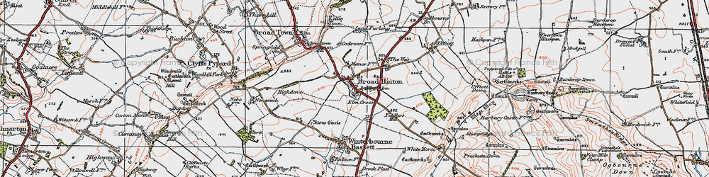 Old map of Broad Hinton in 1919