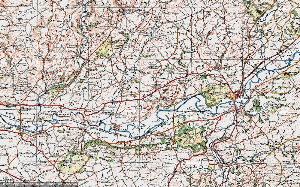 Old Map of Historic Map covering Lanlash in 1923