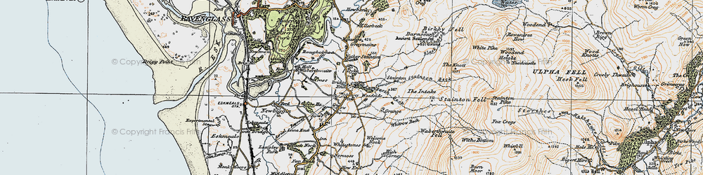 Old map of Woodgate in 1925