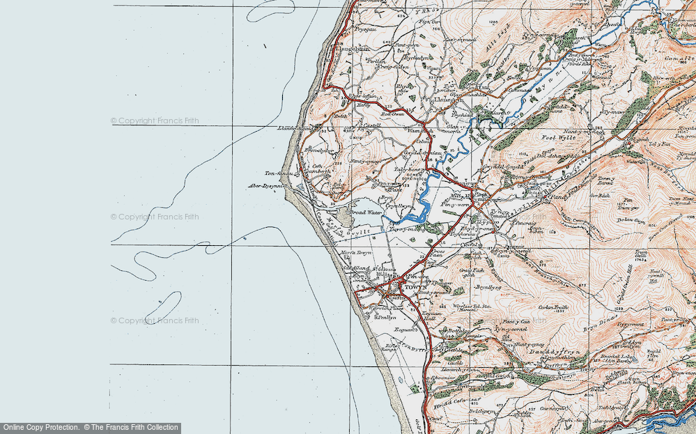 Old Map of Historic Map covering Tonfanau in 1922