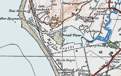 Old map of Aber Dysynni in 1922